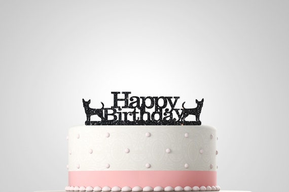Amazing Chihuahua Birthday Cake Topper 130Mm Glitter Acrylic Cake Etsy Funny Birthday Cards Online Unhofree Goldxyz