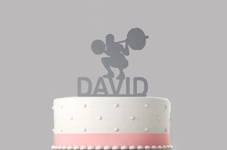keepsake Various colours and sizes High quality item Birthday cake topper Weightlifter Personalised acrylic cake topper 267