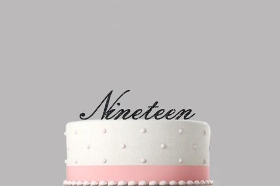 Fine Nineteen 19Th Birthday Cake Topper 130Mm Glitter Cake Etsy Funny Birthday Cards Online Alyptdamsfinfo