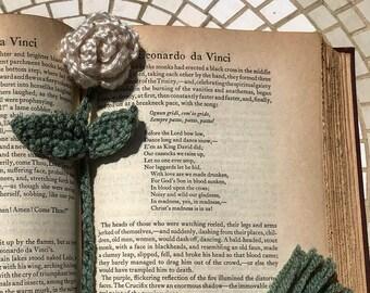 Crochet Bookmark/Rose Bookmark/Crochet Rose/Handmade Bookmark/White/Bookmark/Handmade/Unique Gift