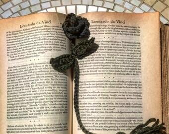 Crochet Bookmark/Rose Bookmark/ Crochet Rose/Handmade Bookmark/Grey/Green/Bookmark/Handmade/Unique Gift