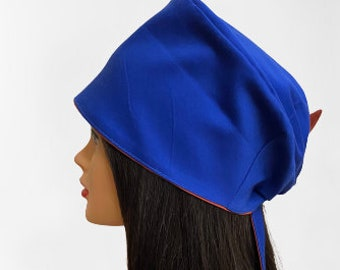Banded Tie Scrub Hat-ONE OF A KIND Royal Blue with Multi Color Puzzle Print Top