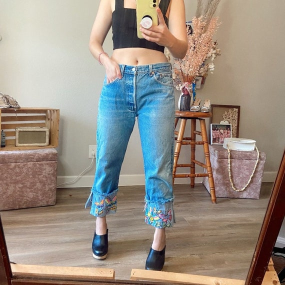 Levis 501 XX Vintage Butterfly Embroidered Jeans