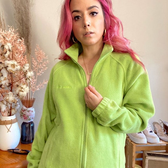 Vintage 1990s Columbia Fleece Lime Green Fleece - image 7