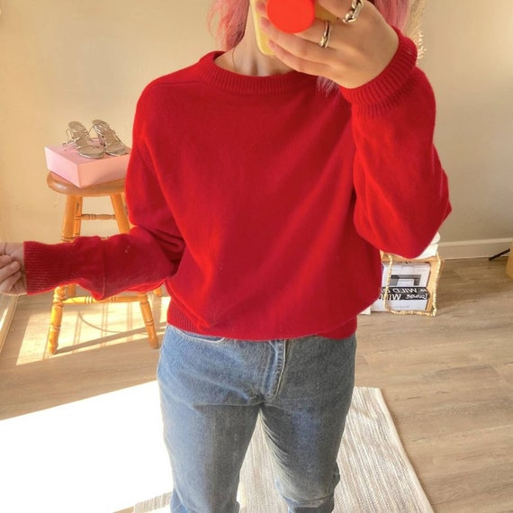 Vintage 1980's Red 100% Wool Basic Sweater