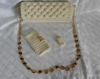 Bag, wallet and key chain all handmade ivory.