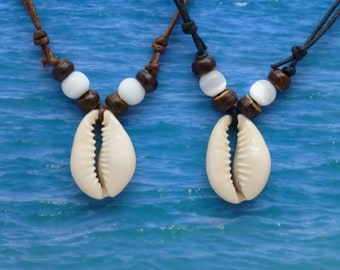 Cowrie Shell pendant necklace handmade, Beach jewellery, Adjustable Black/Brown Cord Shell Necklace, Beach Jewelry, Perfect Gift For Her Him