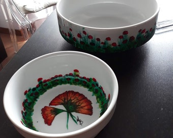 1921-1941 Japan Japanese Arita Ware Red Lidded Bowl with Underplate Poppy Decor c