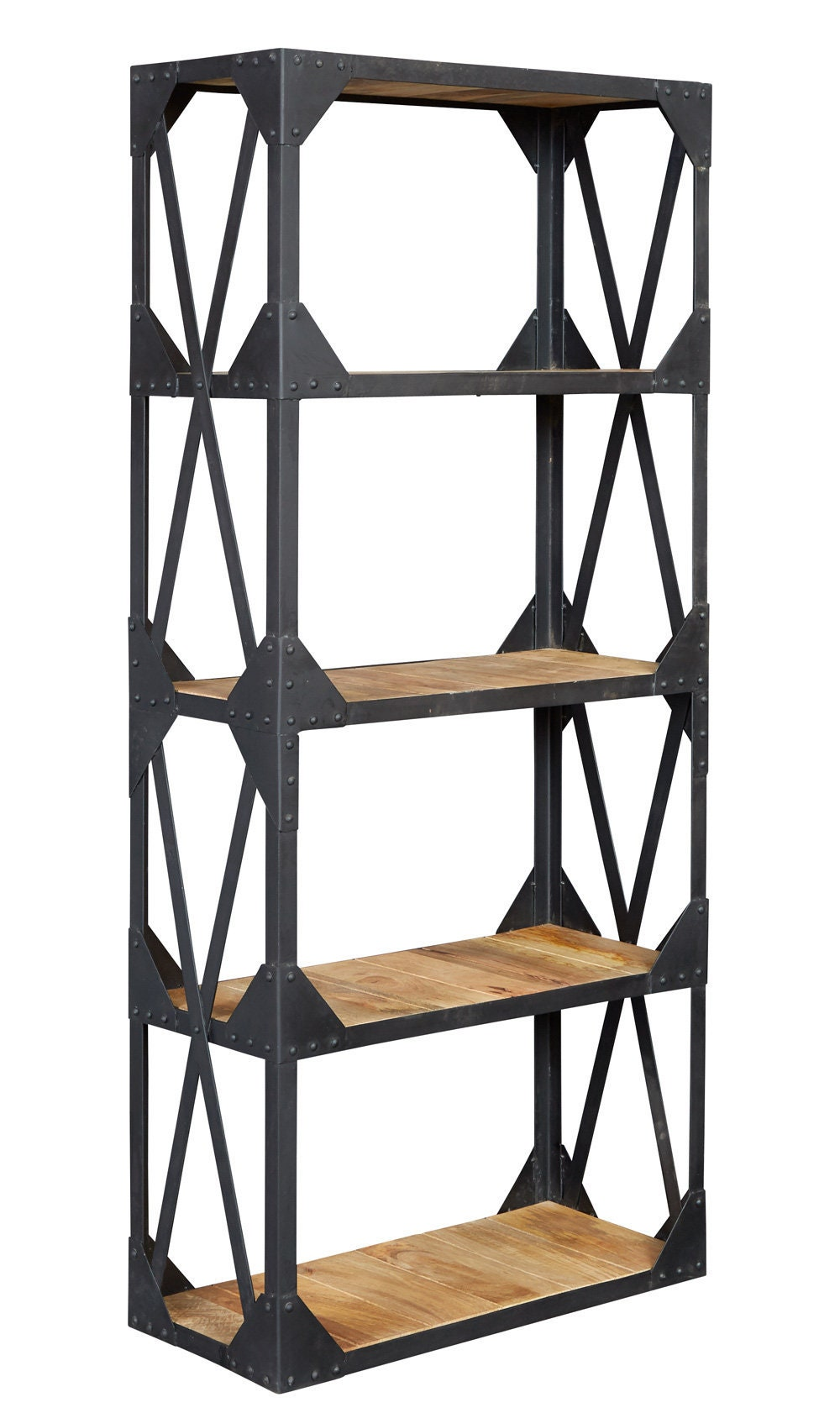 Ascot Large Bookcase Shelving Unit Handcrafted Solid Wood Natural Rustic Metal
