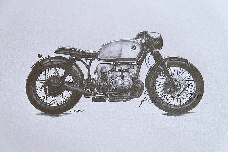 Motorcycle Art Print Of A Pencil Drawing Of A Bmw Cafe Racer Etsy