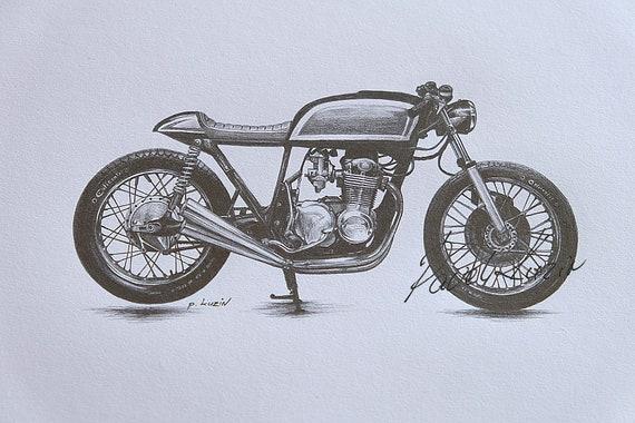 Motorcycle Art Print Of A Pencil Drawing Of A Honda Cb550 Etsy