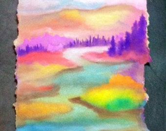 Watercolor landscape on raw edge paper - Escape