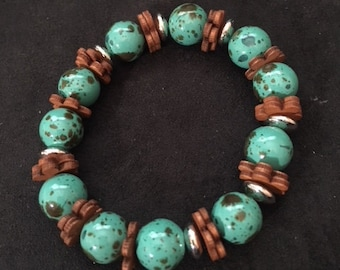 Turquoise with Wooden Flowers