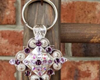 Silver concho keychain with purple Swarovski crystals
