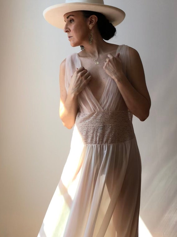 Vintage Blush Tulle + Lace Night Gown