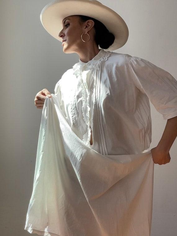 Vintage White Cotton Night Gown | Antique Handmade