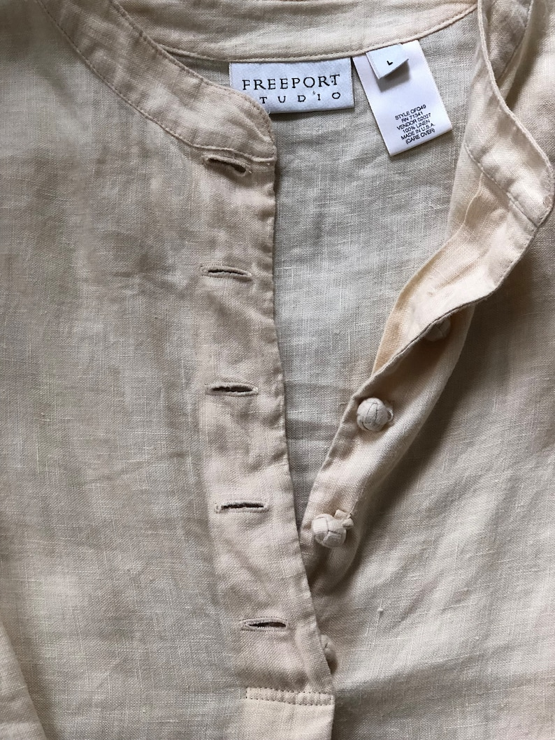 Vintage Yellow Linen Top Linen Button Down Long Sleeve Top