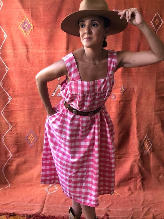 Vintage Pink Plaid Cotton Dress | Pink Cotton Sun