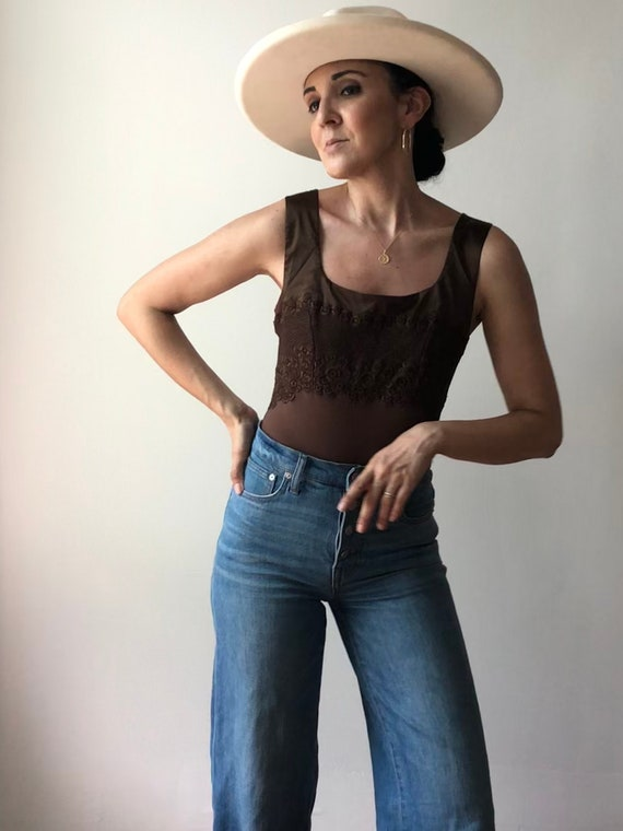 Vintage Italian Deadstock Mocha Lace Bodysuit