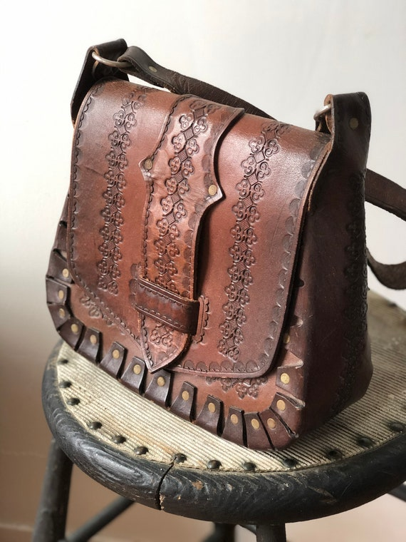 Vintage 1970's Leather Tooled Shoulder Bag