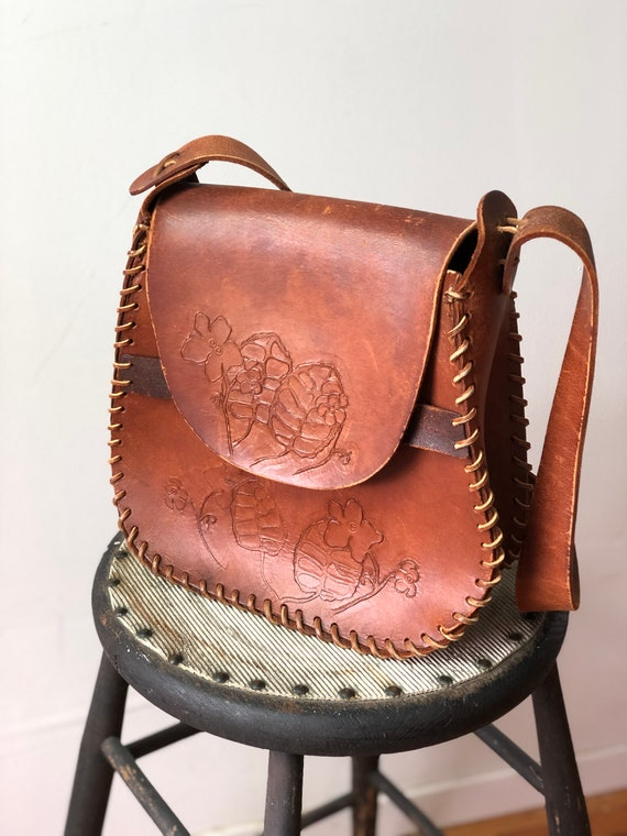 Vintage 1970's Leather Tooled Handbag