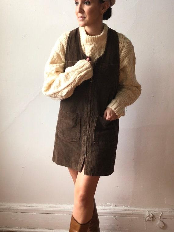 Vintage Corduroy Zip Up Dress | Brown Corduroy Cot