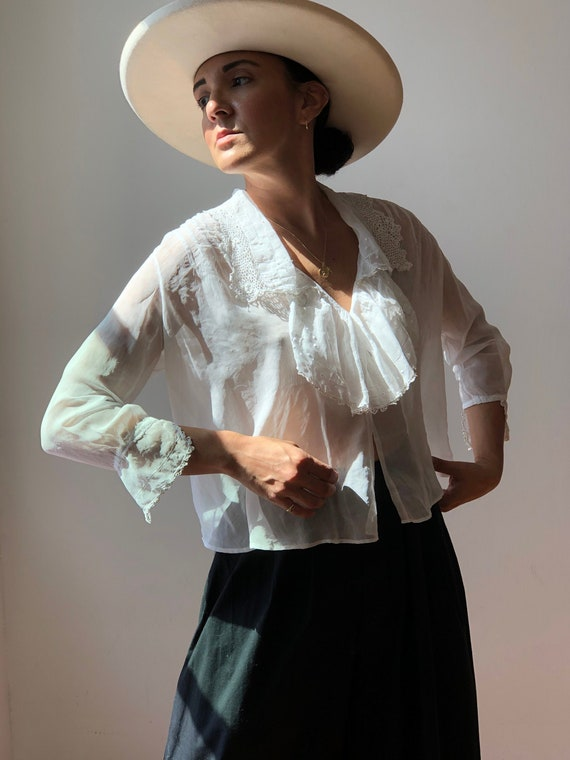 Antique 1900s White Cotton Lace Blouse | Handmade