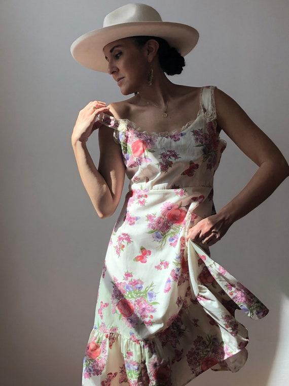 Vintage 70s Cotton Floral Sun Dress
