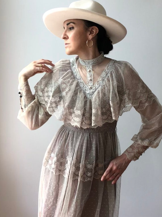 Vintage Antique Lace Dress | Ruffle Lace Dress
