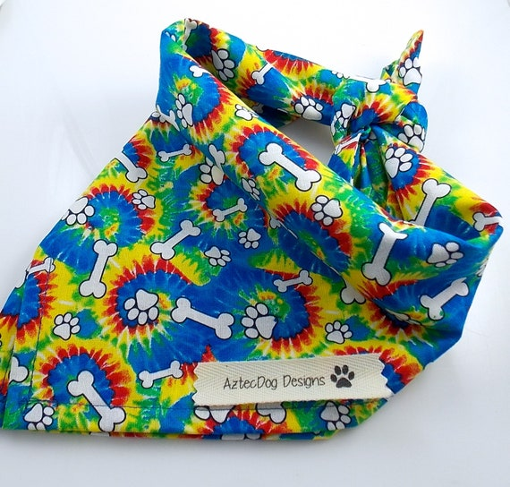 Rainbow Dog Bandana, Dog Bone Dog Bandana, Hippie Dog Bandana