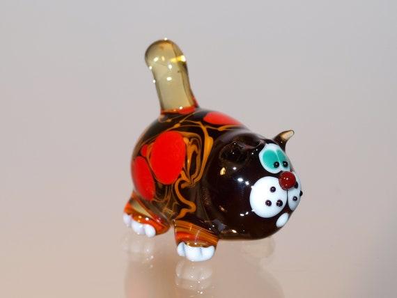 Glass cat figurine Hand Blown Glass figurine cat siamese cat figurine Glass animal Handblown cat  Lampwork cat Glass sculpture