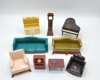 Vintage 1940's Renwal Company and Plasco Toy Miniature Living Room Dollhouse Furniture