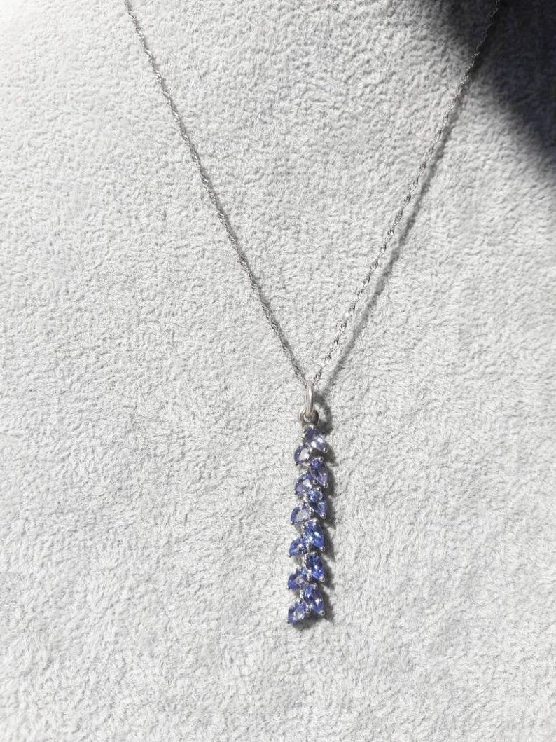 Beautiful Vintage Sterling Silver Exotic Tanzanite Necklace