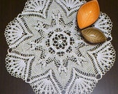 Crocheted white round doily, 100 mercerized cotton, Diameter app. 53 cm (20,87 in), READY TO SHIP