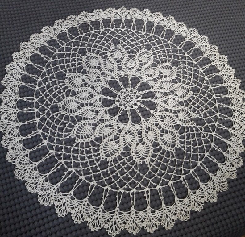 beige tablecloth 31.50 Diameter: 80 cm Hand crocheted tablecloth Tablecloth is round READY TO SHIP