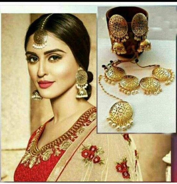Indian Wedding Wear Kundan Necklace With Earring Maang Tikka Party Wear Jewelry Choker Necklace Indian Jewelry Kundan Jewelry Set