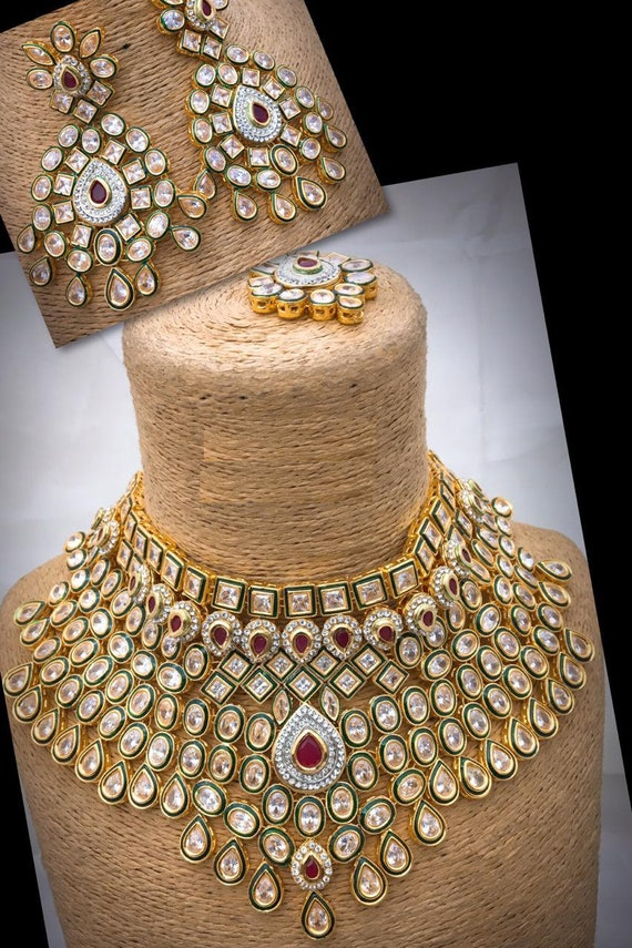 Indian Bridal Wedding Set Kundan Necklace With Earrings And Etsy