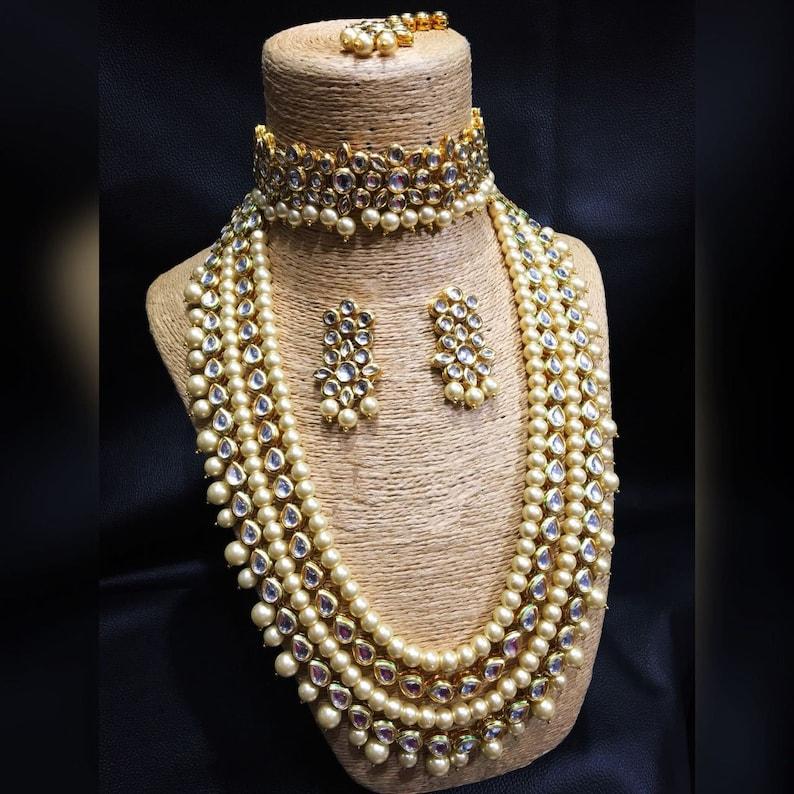 14738c5535 Indian Wedding Wear Kundan Jewelry Set Gold Plated Designer | Etsy