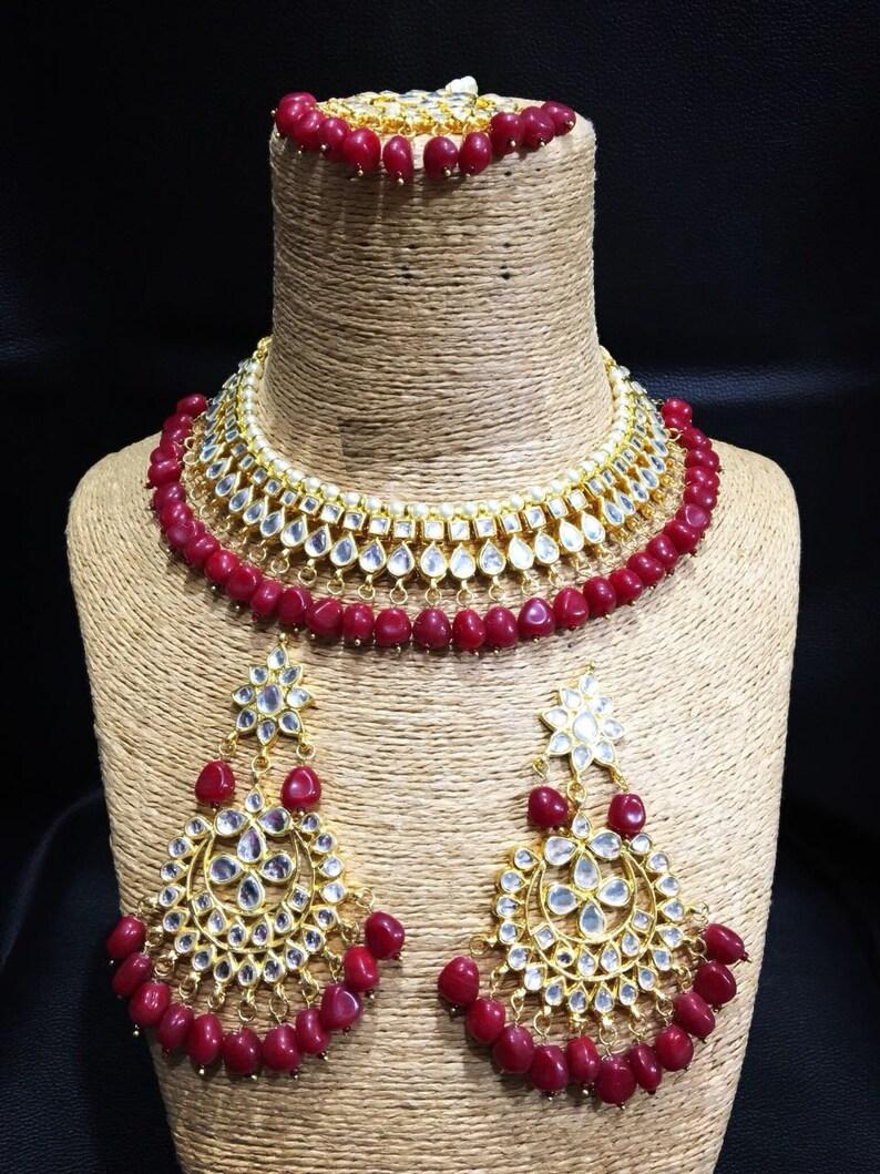70fbc33e48b4f Indian Wedding Wear Necklace Set, Designer Pearl Necklace with Earring &  Maang Tikka , Party Wear Jewellery, Ethnic Wear Red Kundan Jewelry