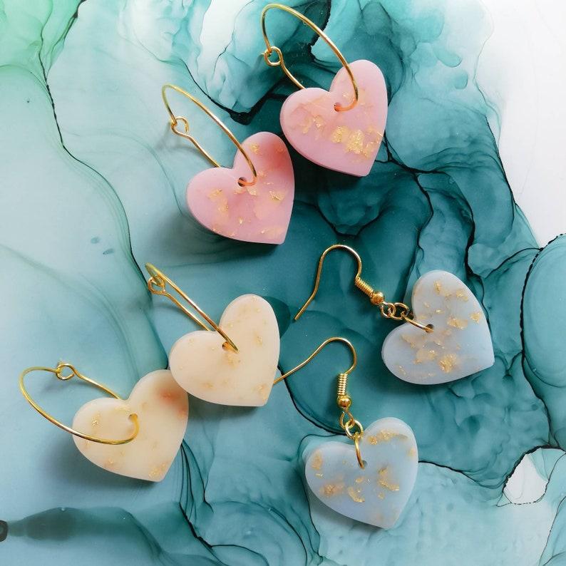 Handmade gold plated  heart resin earrings pastel blue pink image 0
