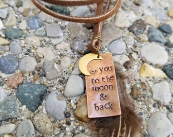 Love you to the moon and back necklace-copper pendant necklace-leather-gift for her-hand stamped-hand made jewelry-feather necklace