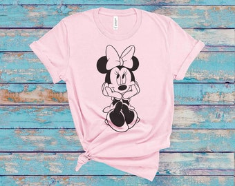 Girls White T Shirt disney 3-6mths to 12-13yrs Minnie Mouse Personalised Boys