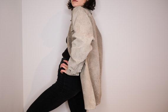 Ash leather shirt - Pale Grey Leather Shirt - image 3