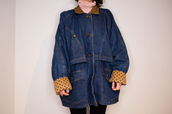 Oversize Paisley Lined Denim Coat