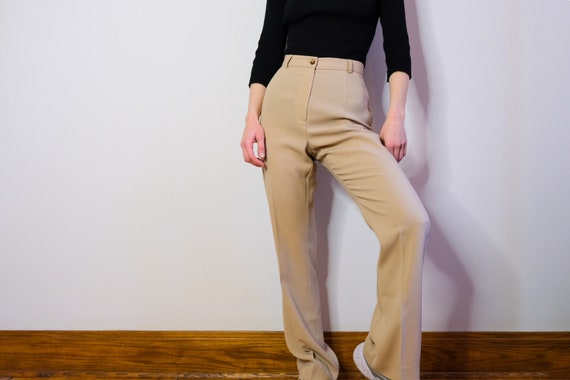 90's The High-Waisted Wings Beige Flare Trousers