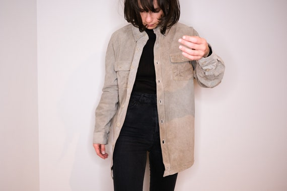 Ash leather shirt - Pale Grey Leather Shirt - image 2