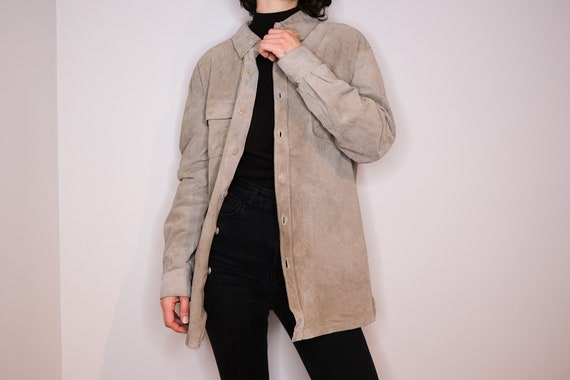 Ash leather shirt - Pale Grey Leather Shirt - image 1