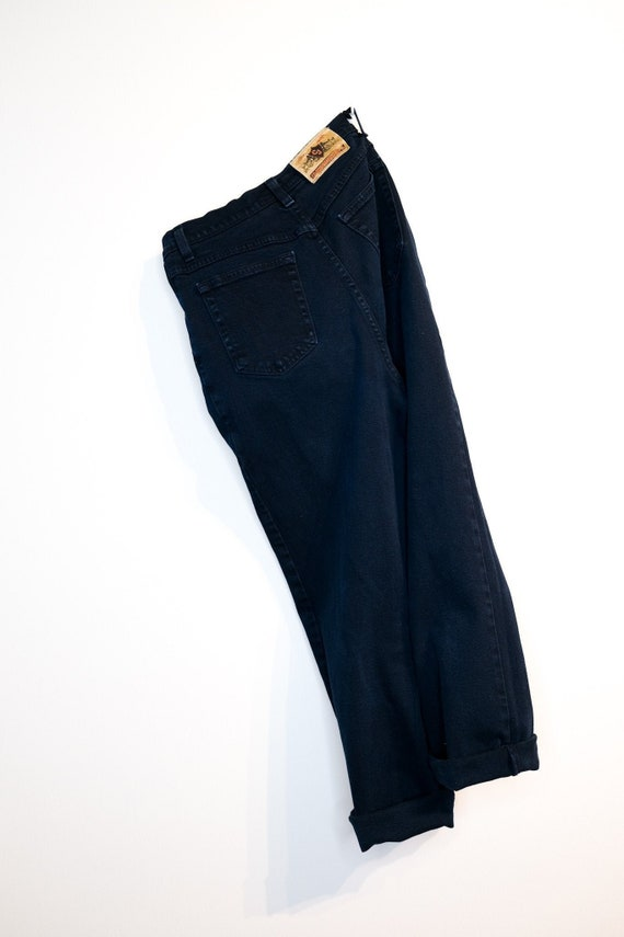 Super-high-waisted navy jeans - Very dark wash sup