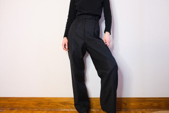 Charcoal High Waisted Wool Trousers - W30
