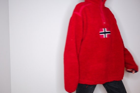 Telemark Norway Red High-Neck Chunky Fleece Sweate